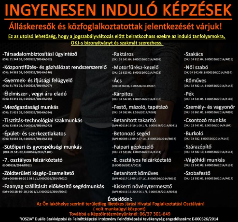 Zala megye - Ingyenes képzések - Felnőttképzés - felnottkepzes.hu - IOSZIA